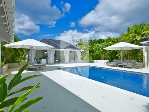 Swimming pool and pool side gazebo with bar