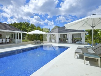 Inviting swimming pool, gazebo and al fresco dining option to the left of the swimming pool